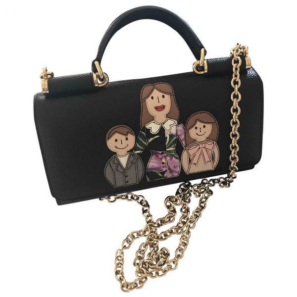 Dolce & Gabbana Sicily Black Leather Handbag