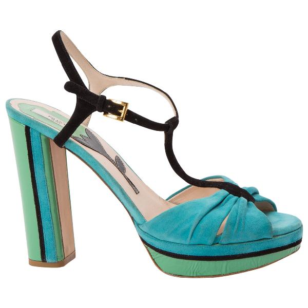 Prada Turquoise Suede Sandals