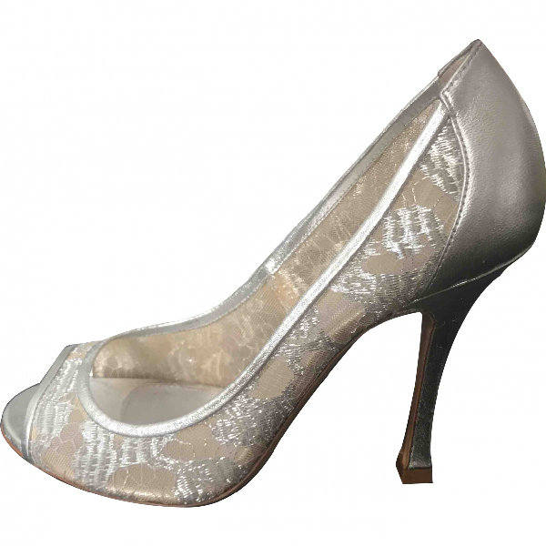 Sergio Rossi Silver Patent Leather Heels