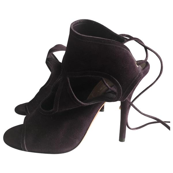 Aquazzura Purple Suede Sandals