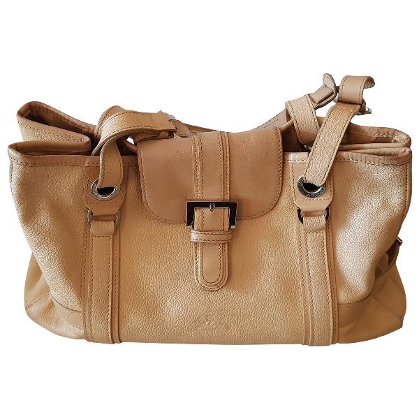 Longchamp Ecru Leather Handbag