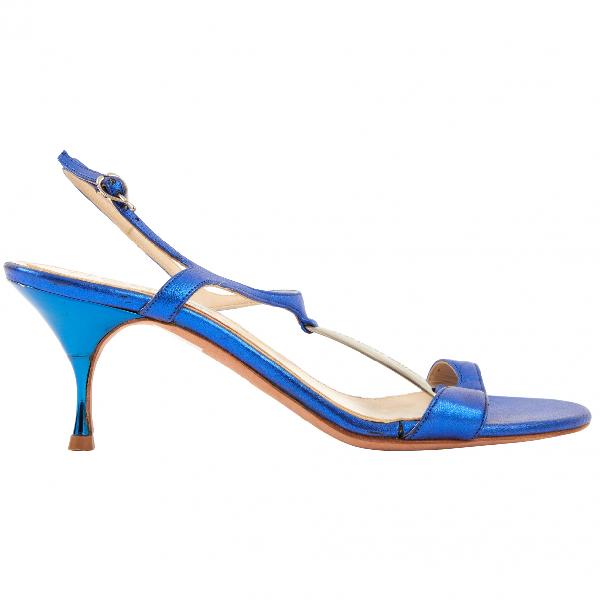 Alexander Mcqueen Blue Leather Heels
