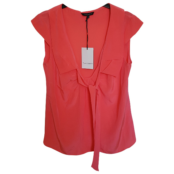 Tara Jarmon Orange Silk  Top