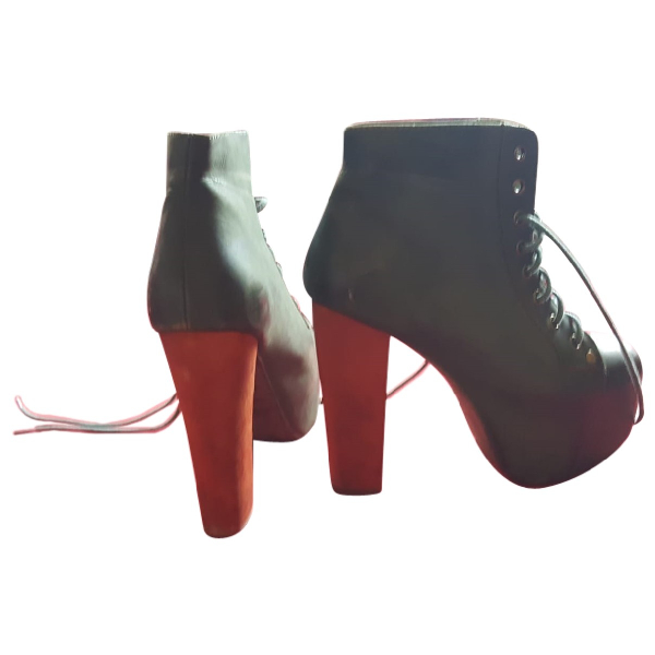 Jeffrey Campbell Green Leather Ankle Boots