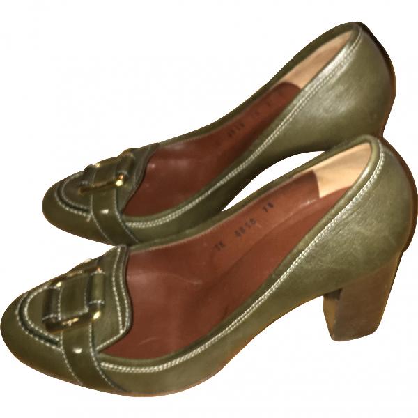 Salvatore Ferragamo Khaki Leather Heels