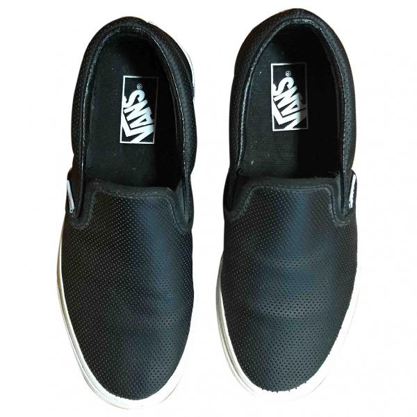Vans Black Leather Trainers