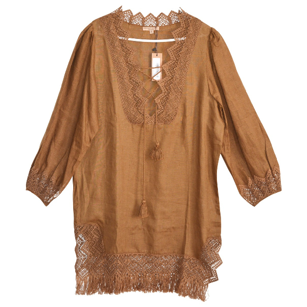 Ermanno Scervino Brown Linen Dress
