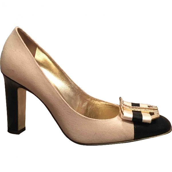 Roberto Cavalli Beige Cloth Heels