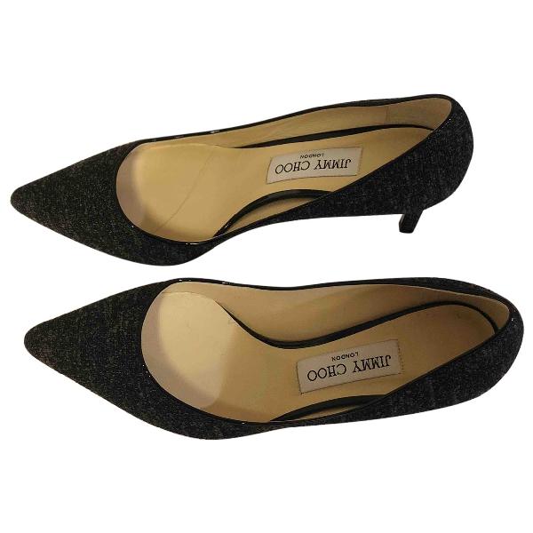 Jimmy Choo Romy Black Glitter Heels