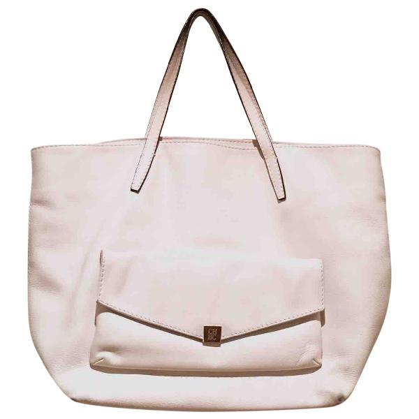 Carolina Herrera Ecru Leather Handbag