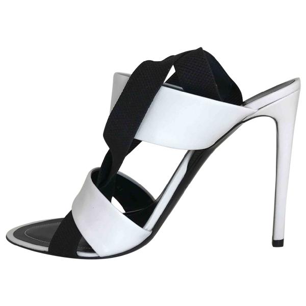 Balenciaga White Leather Sandals