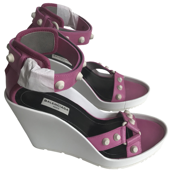 Balenciaga Purple Leather Sandals