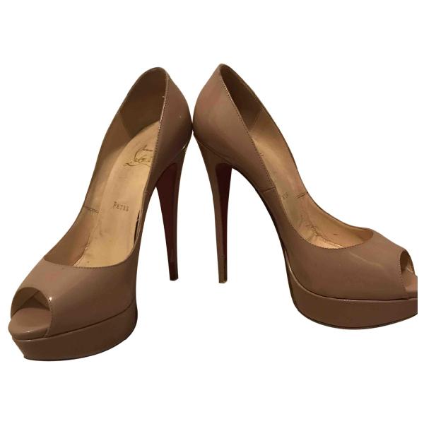 Christian Louboutin Lady Peep Beige Patent Leather Heels