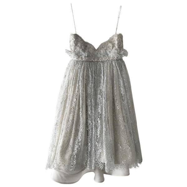 Marchesa Silver Silk Dress