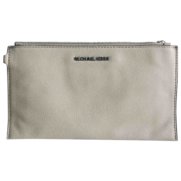 Michael Kors Grey Leather Clutch Bag