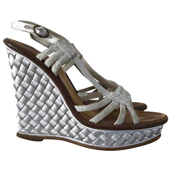 Bottega Veneta Grey Cloth Sandals