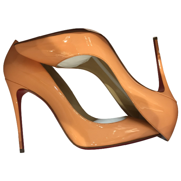 Christian Louboutin Pigalle Orange Patent Leather Heels