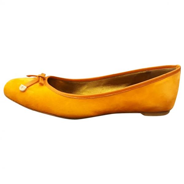 Sergio Rossi Orange Velvet Ballet Flats