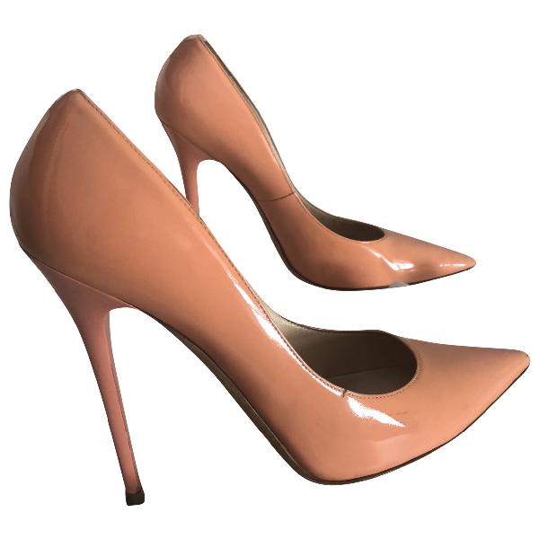 Jimmy Choo Anouk Orange Patent Leather Heels