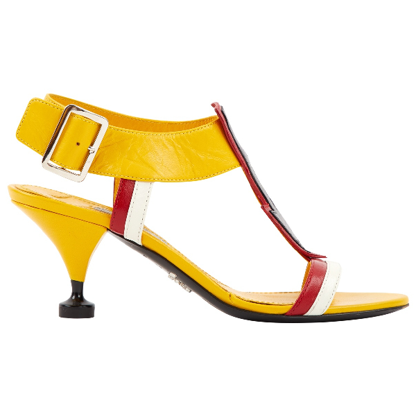 Prada Yellow Leather Sandals