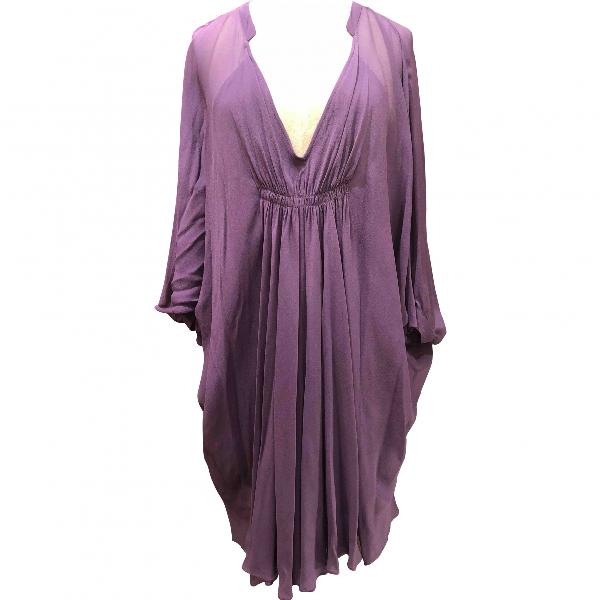 Diane Von Furstenberg Purple Silk Dress