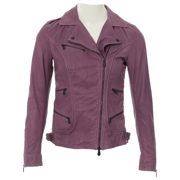 Bottega Veneta Purple Leather Leather Jacket