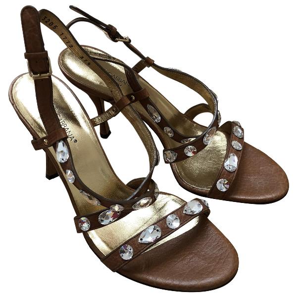 Dolce & Gabbana Brown Leather Sandals