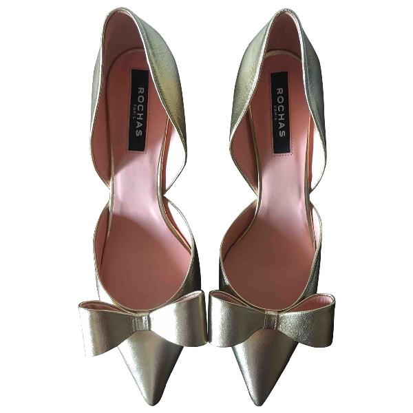 Rochas Gold Leather Heels