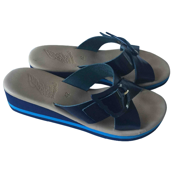Ancient Greek Sandals Blue Patent Leather Sandals