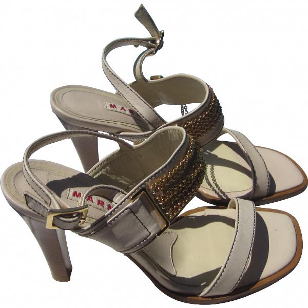 Marni Beige Leather Sandals