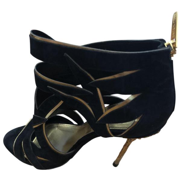 Sergio Rossi Black Suede Sandals