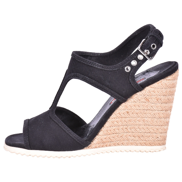Prada Black Cloth Sandals