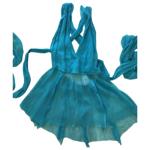 Philosophy Di Alberta Ferretti Turquoise Silk  Top