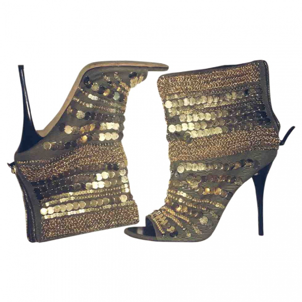 Giuseppe Zanotti Gold Cloth Ankle Boots