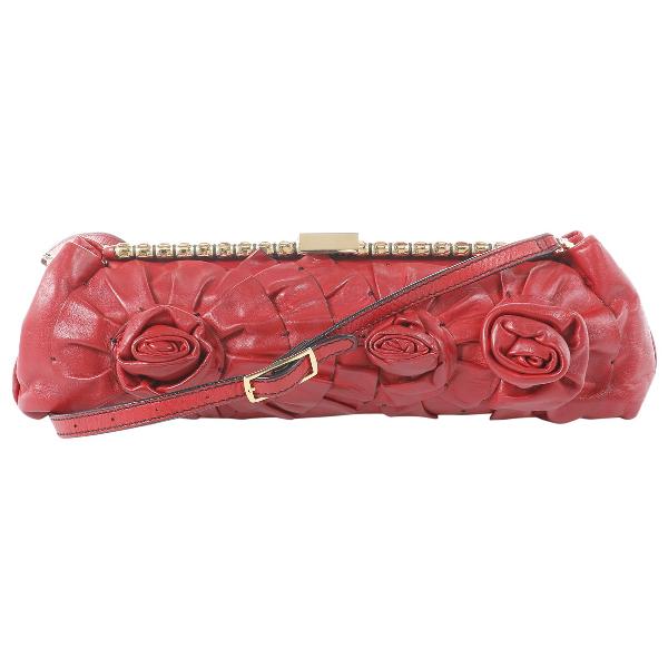 Valentino Garavani Red Leather Clutch Bag