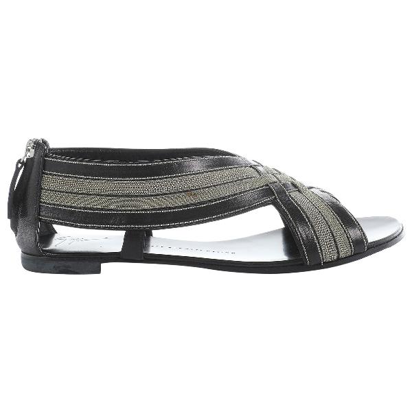 Giuseppe Zanotti Black Leather Flats