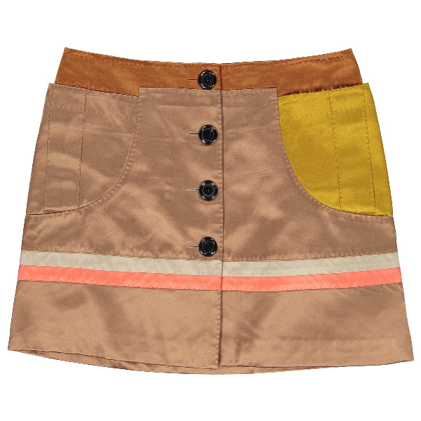 Louis Vuitton Brown Silk Skirt