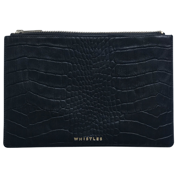 Whistles Black Leather Clutch Bag