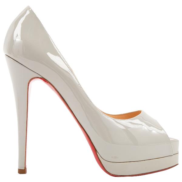 Christian Louboutin Lady Peep Grey Patent Leather Heels