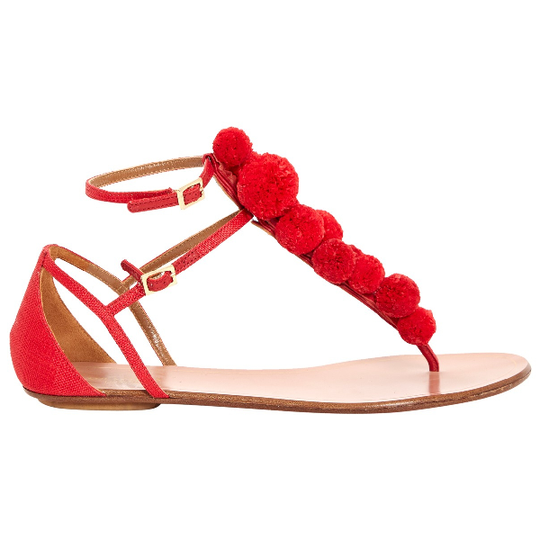Aquazzura Red Cloth Sandals