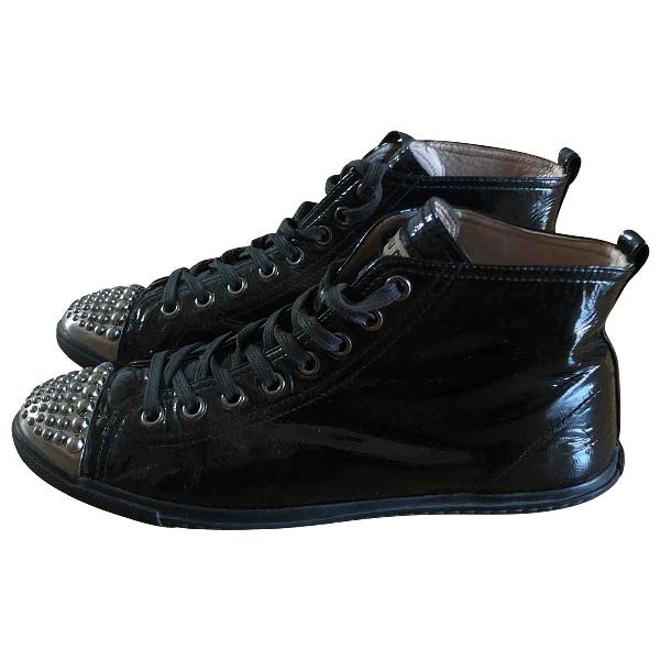 Miu Miu Black Patent Leather Trainers