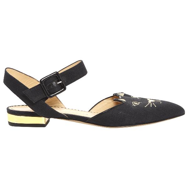 Charlotte Olympia Black Cloth Flats