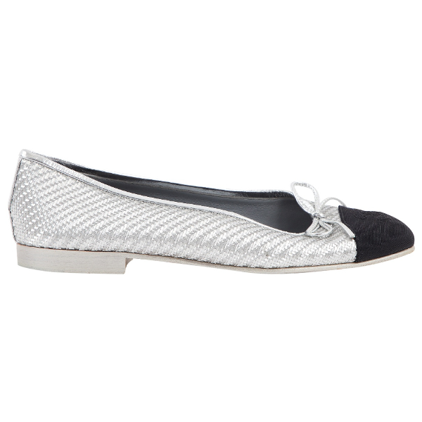 Chanel Silver Cloth Ballet Flats