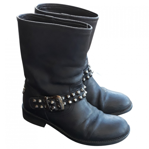Twinset Black Leather Boots