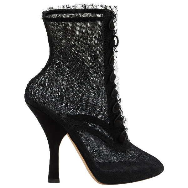 Dolce & Gabbana Black Cloth Ankle Boots