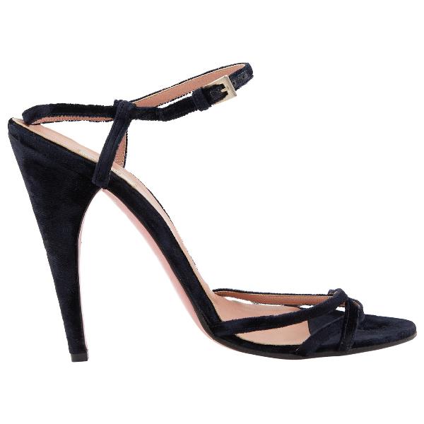 Prada Navy Velvet Heels