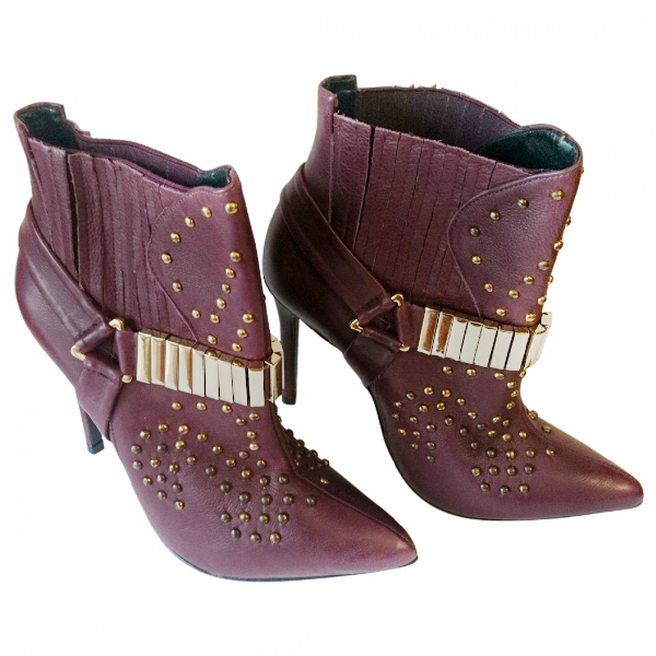 Schutz Burgundy Leather Ankle Boots