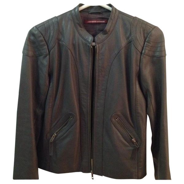 Comptoir Des Cotonniers Grey Leather Leather Jacket