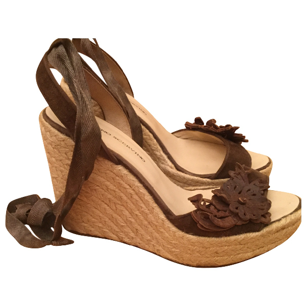 Ermanno Scervino Brown Suede Sandals