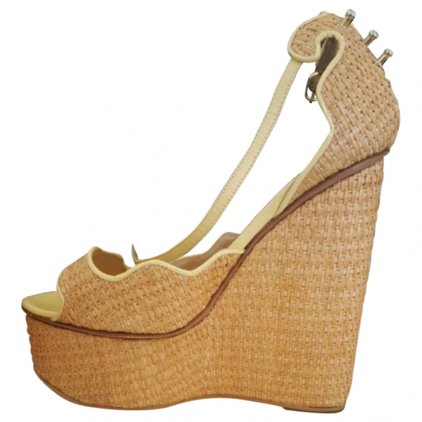 Aperlai Yellow Wicker Sandals